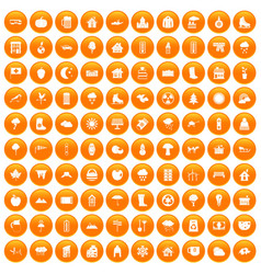100 country house icons set orange vector
