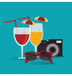 Camera cocktail vacation summer vector