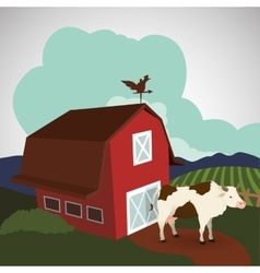 Farm design stable icon flat vector