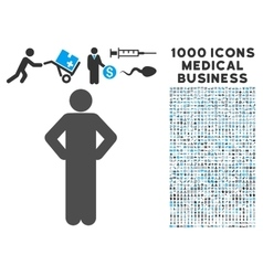 Akimbo pose icon with 1000 medical business vector