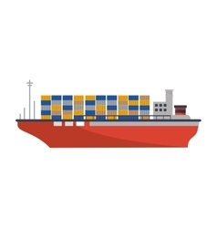 Isolated cargo ship design vector