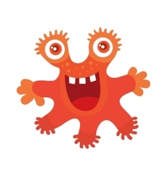 Funny smiling germ red monster character vector