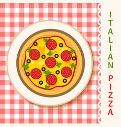 Salami pizza vector