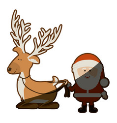 Background with caricatures of reindeer holding by vector