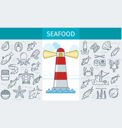 Seafood store banner vector