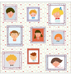 Kids portraits on the wall gallery vector image