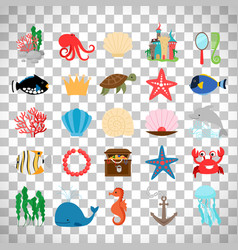 marine life and cartoon ocean animals vector image