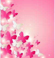 Abstract background with red and white butterflies vector image