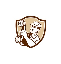 Telephone repairman holding phone shield vector