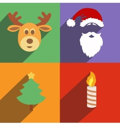 Christmas and new year icons isolated set of vector