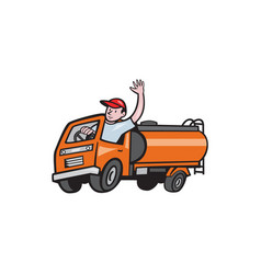 4 wheeler tanker truck driver waving cartoon vector image vector image