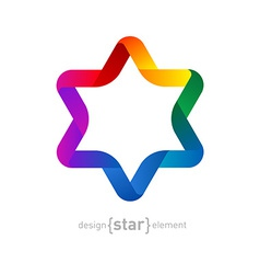 Colorfull origami david star on white background vector