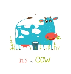 Brightly colored fun cow and milk for kids vector