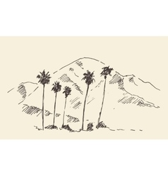 Los angeles california skyline engraved sketch vector