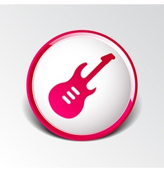 Guitar icon with long shadow melody electric vector