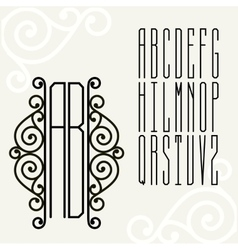 Monogram art nouveau vector