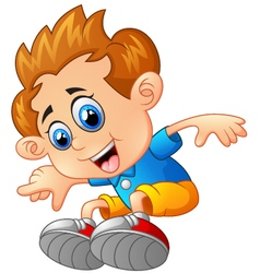 Young boy jumping vector