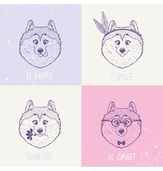 Dog husky art vector