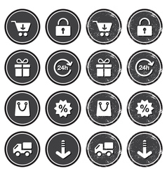 Shopping on internet retro badges - grunge style vector