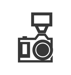 Camera with flash icon gadget design vector