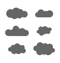 Cloud icons set gray vector