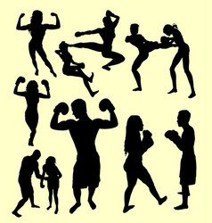 boxing and fight silhouette vector image