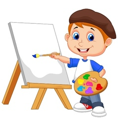 Cartoon boy painting vector