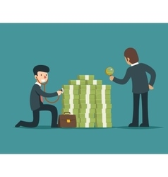 Check financial health Businessman check money vector image