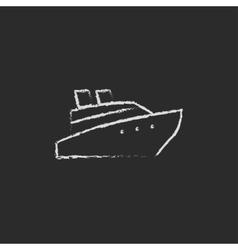 Cruise ship icon drawn in chalk vector