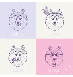 Dog Husky art vector image vector image