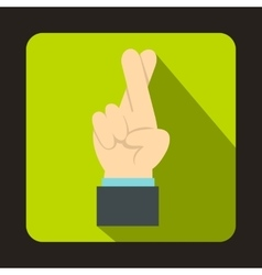 Fingers crossed icon in flat style vector