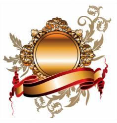 gold frame ribbon vector image vector image