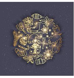 Golden christmas doodles - grey vector