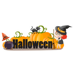halloween sign with witch and cat vector image