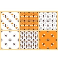 Honey and bees seamless patterns set vector image vector image