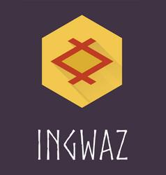 Ingwaz rune of Elder Futhark in trend flat style vector image