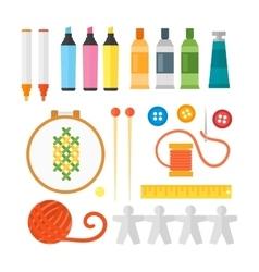 Kids creativity creation symbols set vector image vector image