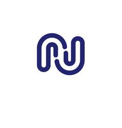 Letter rj letter n logo design vector