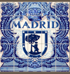 madrid ceramic tiles blue souvenir vector image