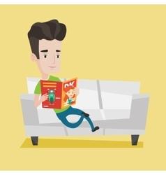Man reading magazine on sofa vector