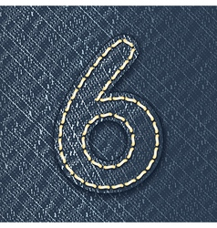 Number 6 made from jeans fabric vector image