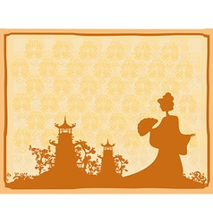 old paper with geisha silhouette on abstract Asian vector image