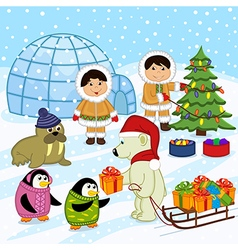 polar bear in the hat of Santa gives gifts vector image vector image