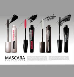 Realistic cosmetic mascara collection vector
