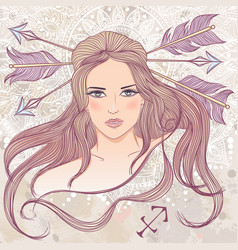 Sagittarius as a portrait of beautiful girl vector image vector image