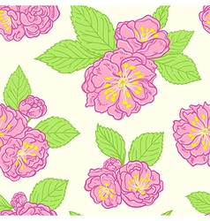 Seamless pattern with peach flowers vector