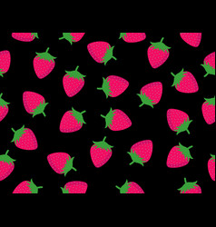 Seamless pattern with strawberries on a black vector