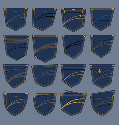 set of various pockets designs vector image vector image