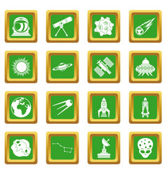 Space icons set green vector