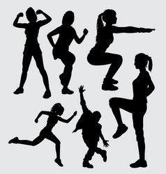 Sport male and female silhouette vector